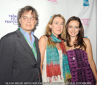 Olivia Wilde with her parents Andrew and Leslie